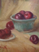 blue dish and plums  16×20  oil  sold
