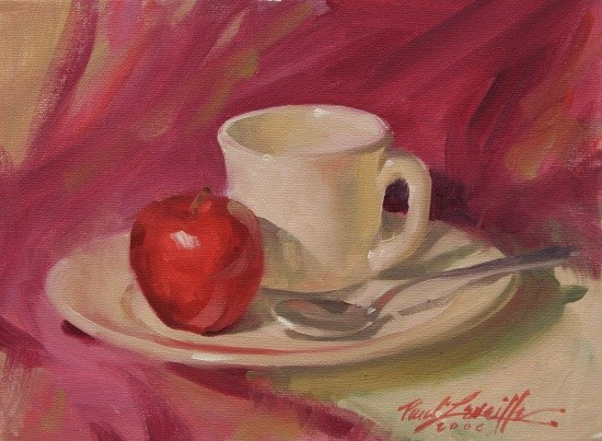 coffee & red apple oil 9×12 $900