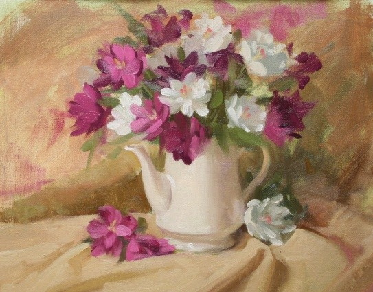 fresh flowers and teapot